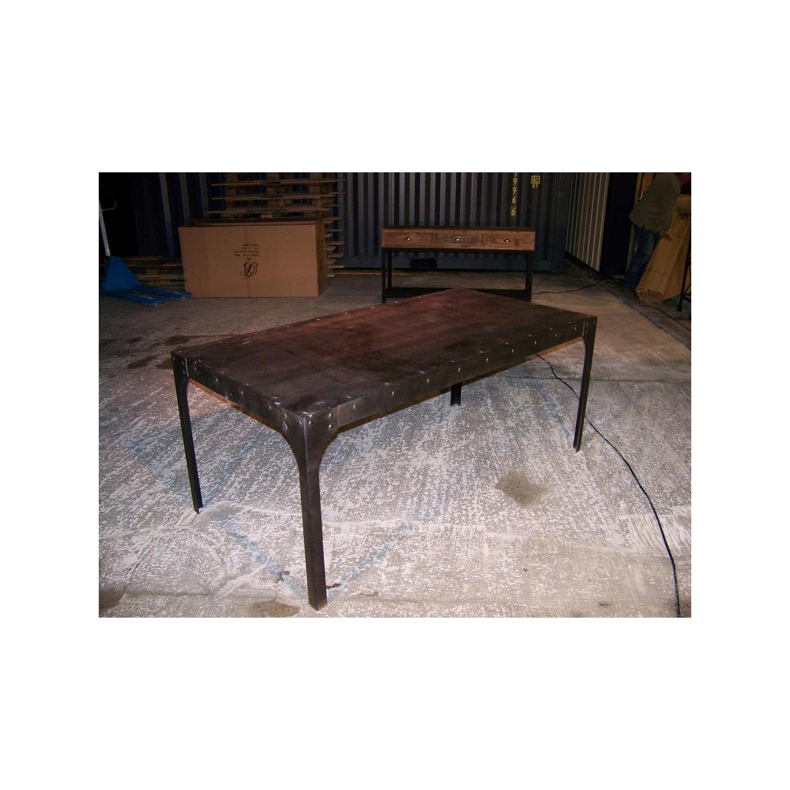 table en fer style industriel jp2b d coration. Black Bedroom Furniture Sets. Home Design Ideas