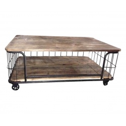 Table basse cage industrielle