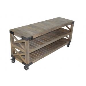 Grande consol en bois sur roulette