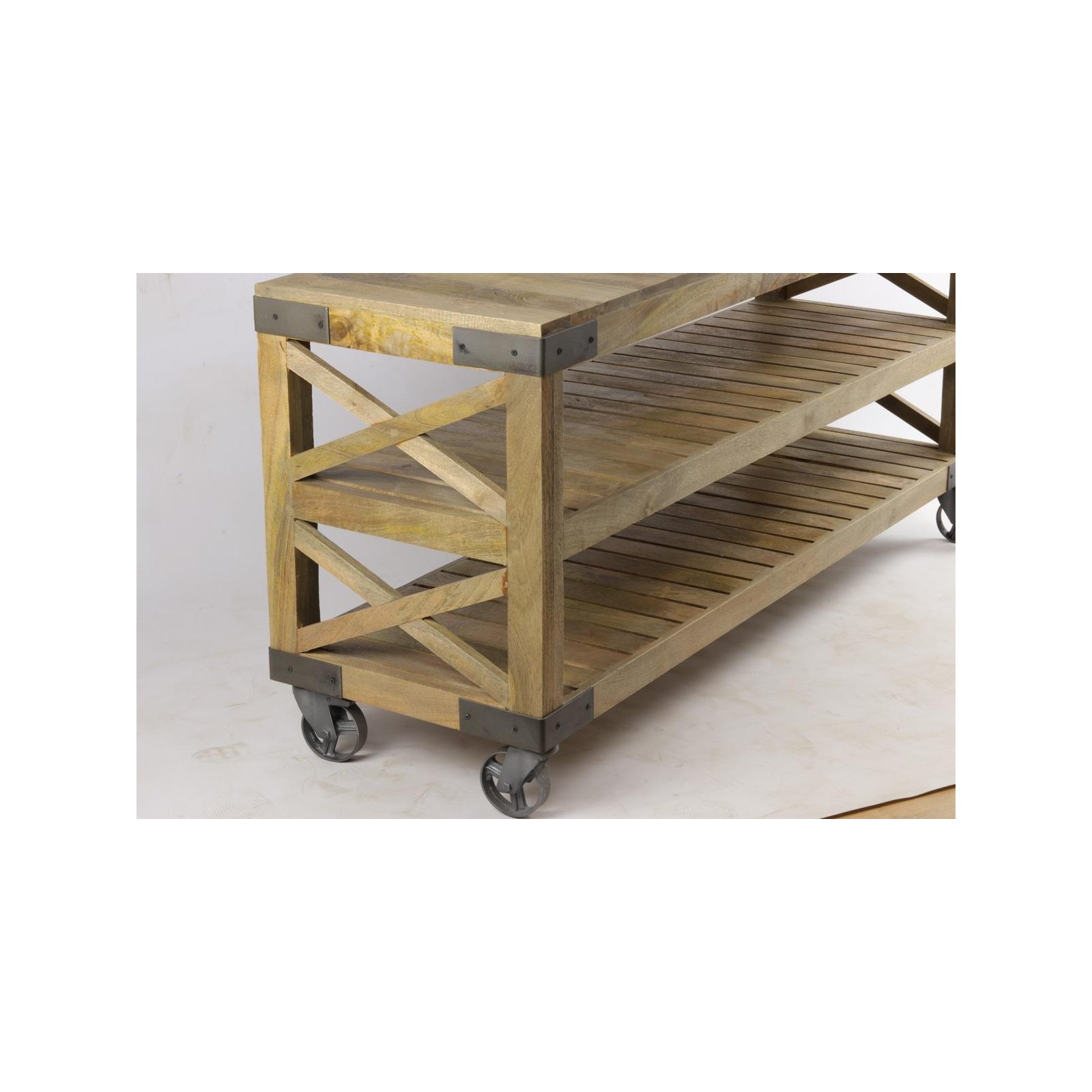 grande consol en bois sur roulette jp2b d coration. Black Bedroom Furniture Sets. Home Design Ideas