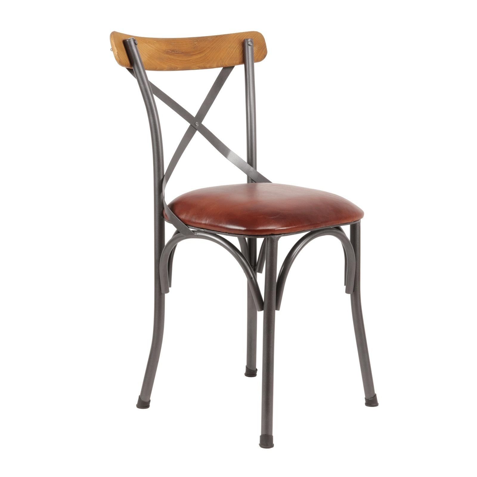 Chaise Bois Et Metal Industriel chaise de bistrot industrielle cuir
