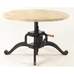 Table basse ronde à manivelle